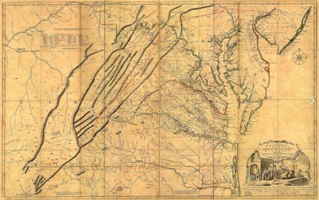 1751 Fry-Jefferson map depicting 'The Great Waggon Road to Philadelphia'. Wikipedia