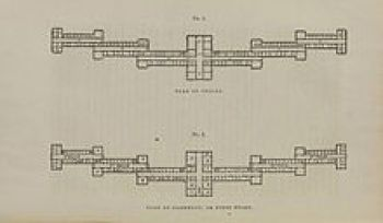 Kirkbride, On the Construction, Organization, and General Arrangements of Hospitals for the Insane (1854), showing the typical Kirkbride staggered-wing arrangement. Wikipedia.