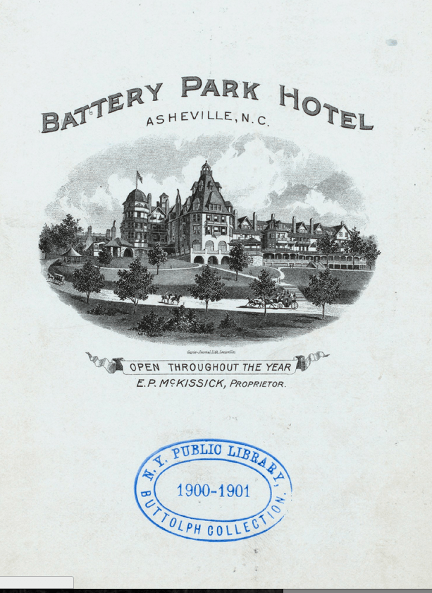 Battery Park Hotel dinner menu, 1900. Buttolph Collection of Menus. New York Public Library.