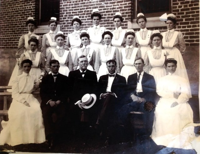 "Nurses' training class, State Hospital at Morganton, probably 1895 (note on back says ""first"" class, 1905; almost certainly in error). Patrick L. Murphy Papers, Southern Historical Collection, UNC Chapel Hill."