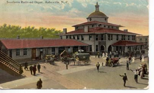 Southern Railway Depot on Depot Street, ca. 1900. Barbour Postcard Collection, UNC Library.