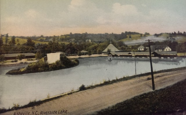 Lake in Riverside Park. Postcard by Hackney & Moale, Asheville NC. Collection of David E. Whisnant.