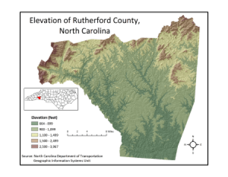Rutherford County elevations. NC Department of Transportation, via Wikipedia.