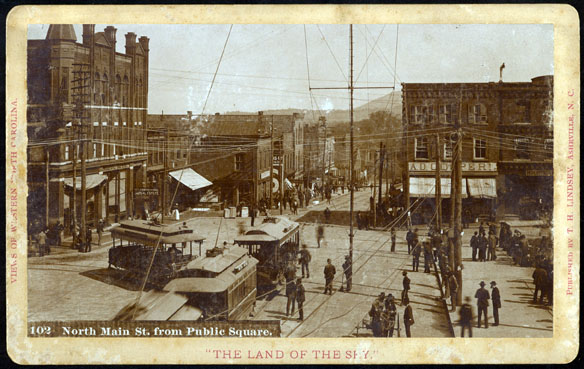 Streetcars on Square at N. Main Street (later Lexington Avenue), 1890. Pack Memorial Public Library