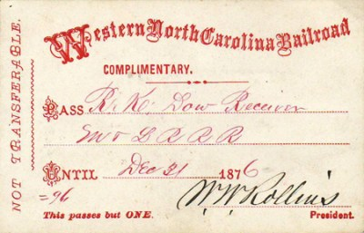 Boarding Pass for Western North Carolina Railroad, December 21, 1876. NCpedia.