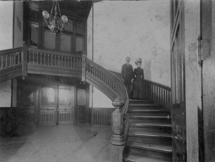 Asbury Whisnant and Ella Austin on their wedding day, Avery Building, State Hospital at Morganton, November 6, 1907. Image enhancement by Evan Whisnant.