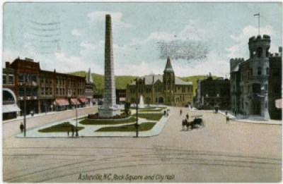 Pack Square, City Hall and Vance Monument, ca. 1900. UNC Chapel Hill, North Carolina Postcard Collection.