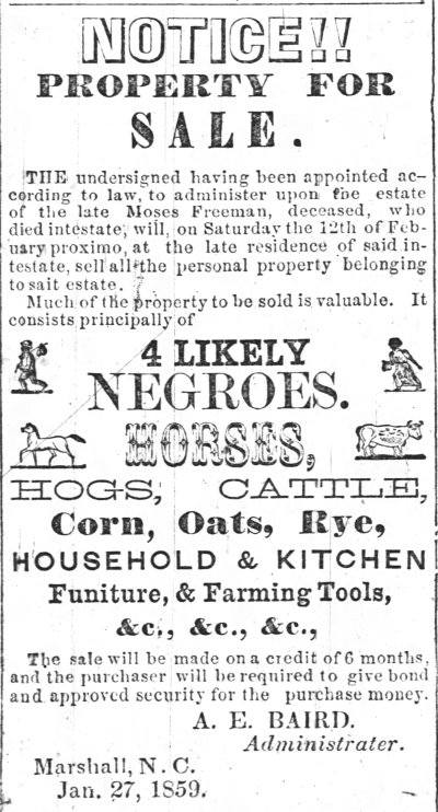 Asheville News, February 10, 1859