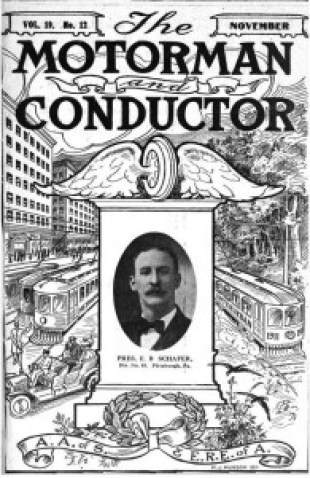 November 1910 issue of The Motorman and Conductor, official journal of the , of which the Asheville Street Railway workers constituted Division 128.