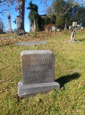 Infant Whisnant gravestone, Riverside Cemetery. Photo by David E. Whisnant, November 20, 2015