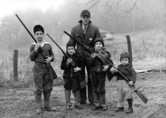 Hunting on Cane Creek: John Whisnant and sons (L to R) Richard, Norman, David and John, Jr., ca. 1948