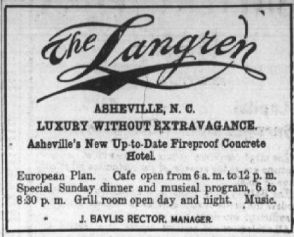 Langren Hotel advertisement in Asheville Citizen-Times during strike (May 1, 1913)