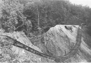 Southern Railway tracks washed out by flood of 1916, Old Fort area. Great War in the Land of the Sky