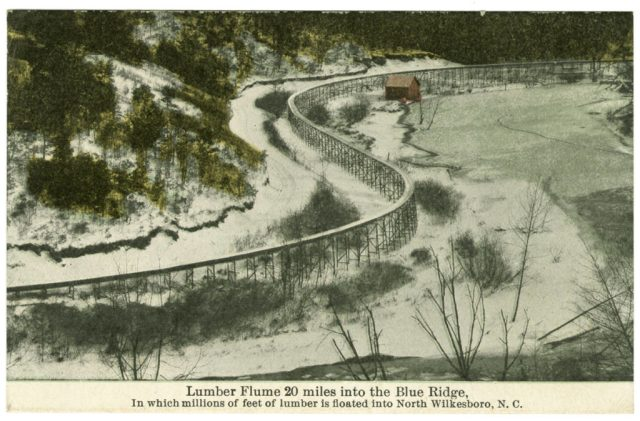 Lumber flume near North Wilkesboro, Wilkes County, NC, ca. 1910. Barbour Collection