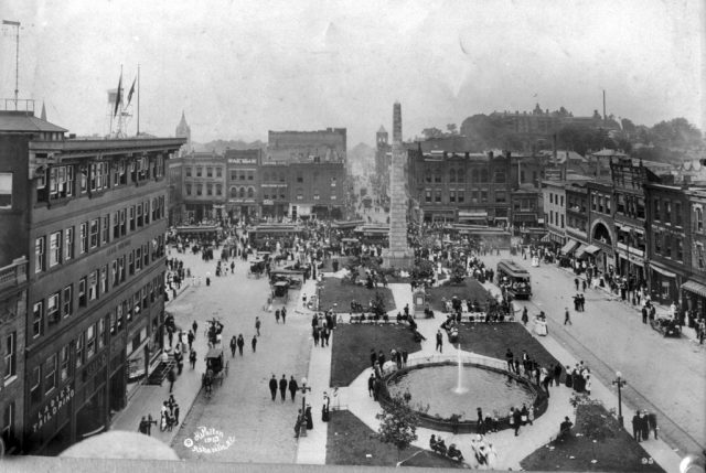 Pack Square, donated and named in honor of George W. Pack. Facing west, with roof of Battery Park Hotel (1886), built by Frank Coxe.