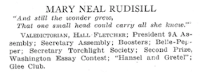 Mary Neal Rudisill's entry in The Hillbilly (1934), p. 24.