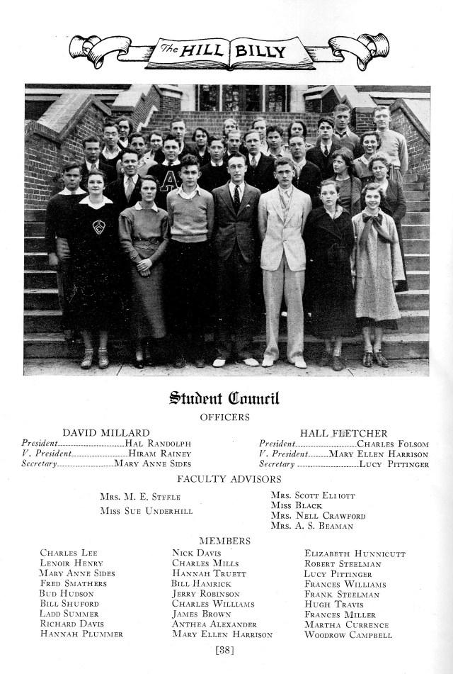 Student Council photo, Asheville High School, 1934