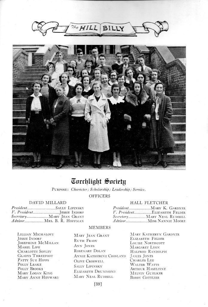Torchlight Society photo, Asheville High School, 1934