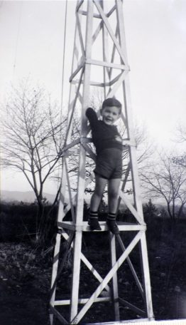 John K. Whisnant with Richard A. Whisnant (b. 1935) on W4KI tower, 12 Hayes Street. Family Collection.eet. Family Collection.
