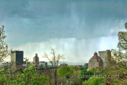 Downtown Asheville in a spring rainstorm