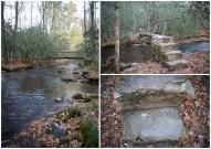 An old foot bridge leading across a stream.