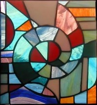 Copper foil panel and stained glass (1916)