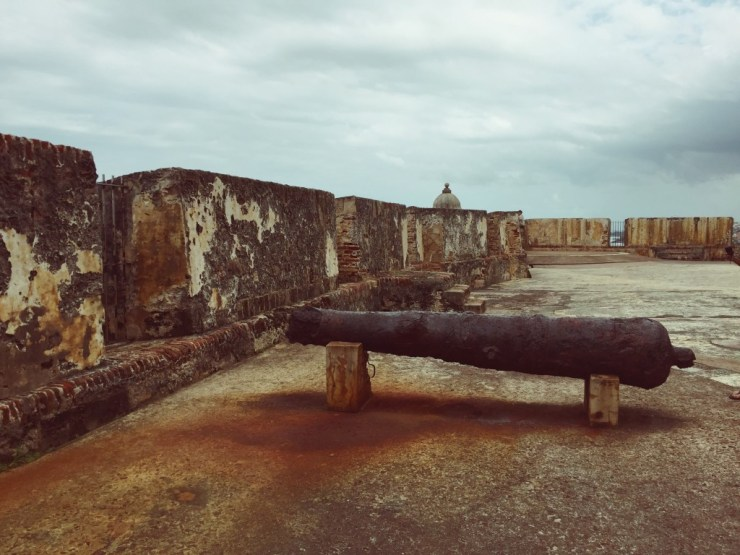 An old Spanish cannon at El Morro Fort