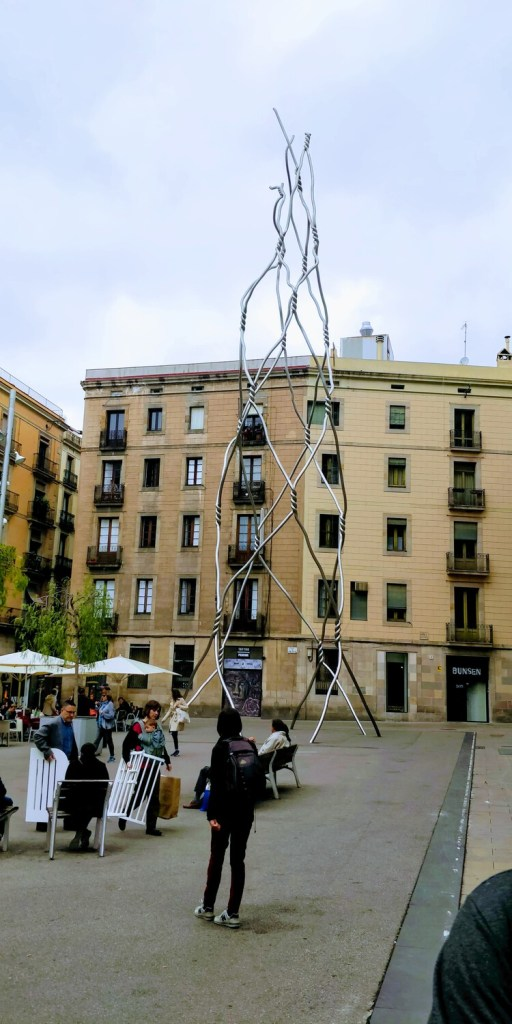 A sculptor symbolizing Human tower a popular sport in Barcelona