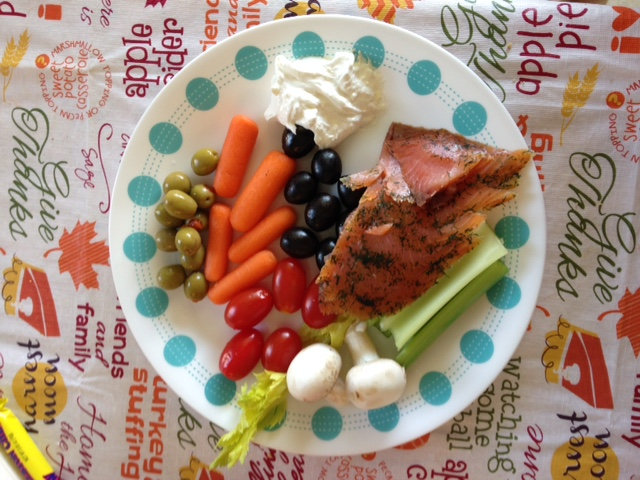 My veggie tray meal as a snack on Thanksgiving afternoon.