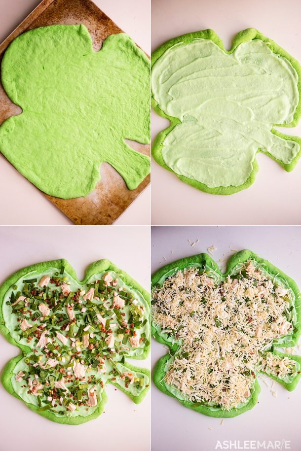 st patricks day dinner - green shamrock pizza - video tutorial