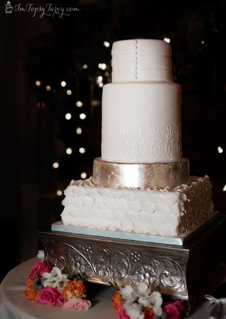 Silver Leaf fondant and lace wedding cake  Ashlee Marie