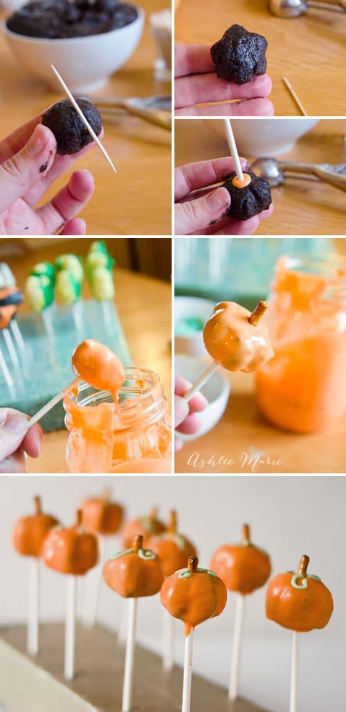 assembly of pumpkin oreo balls