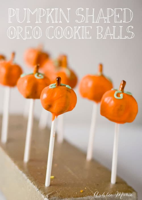 Adorable pumpkin pops made from OREO cookie balls, These are great all fall long and are fun to make with others