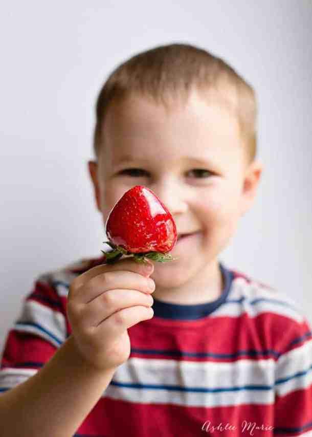 My kids love candied strawberries, like a sweet strawberry pop