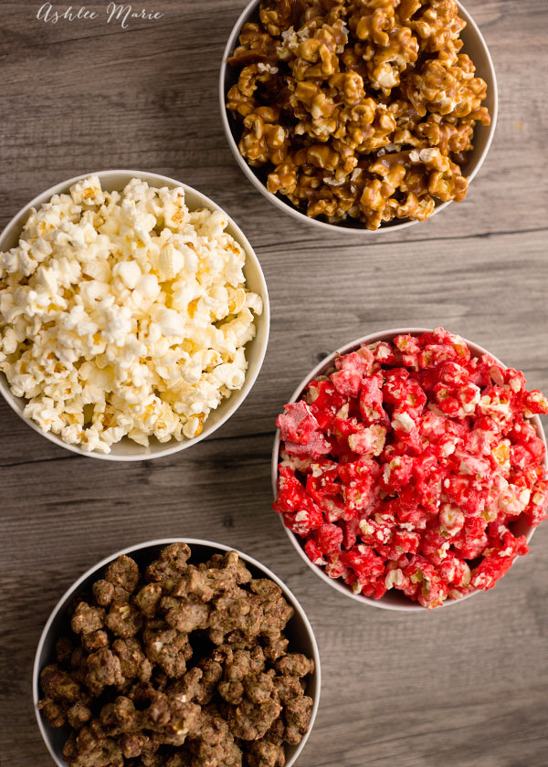 4 popcorn styles, perfect for family movie night - caramel popcorn, kettle corn, cinnamon candied popcorn and puppy chow popcorn