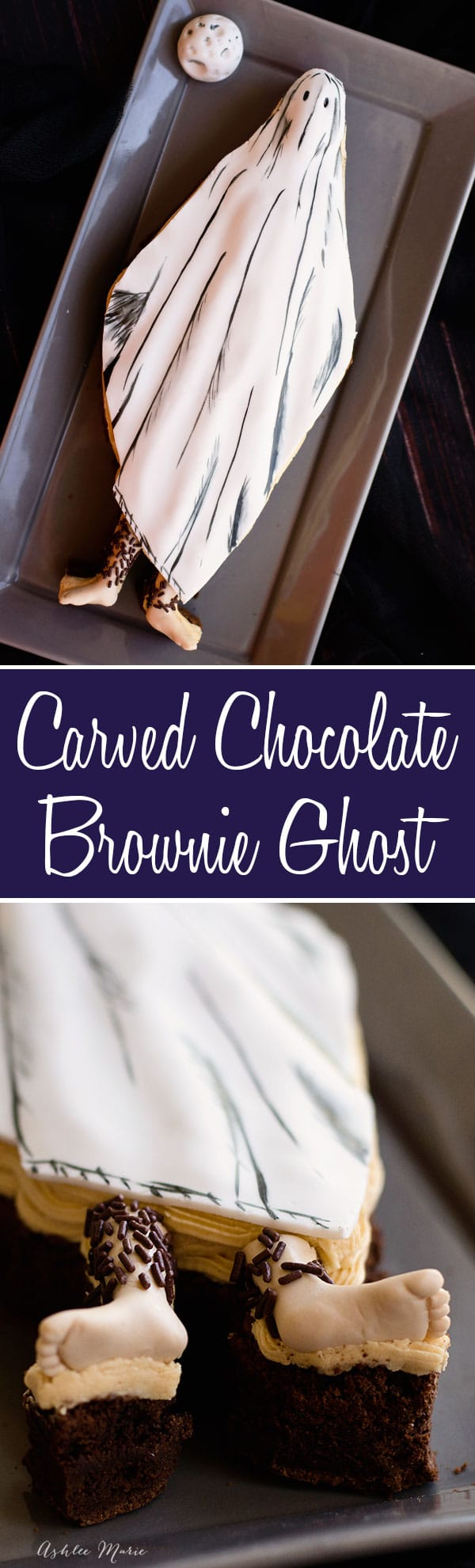 a video tutorial on how to make this carved brownie ghost with hairy fondant legs