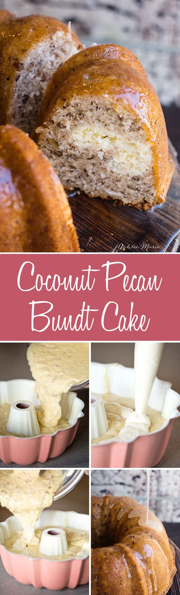 A ribbon of cheesecake flows in the center of this moist and delicious coconut pecan bundt cake, topped with an amazing coconut glaze it does not get much better than this sweet treat