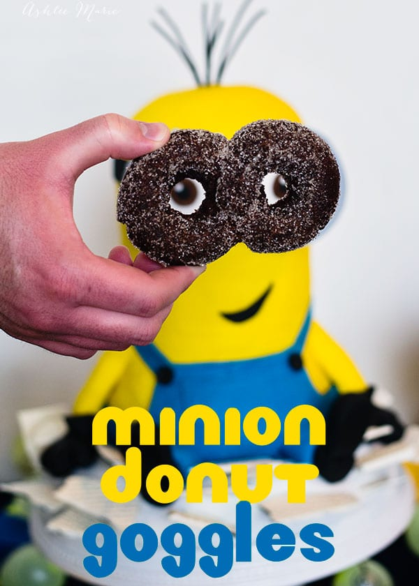 Make your own doughnuts to create edible minion goggles! Fried chocolate cake doughnuts covered in silver sugar was perfect for this!