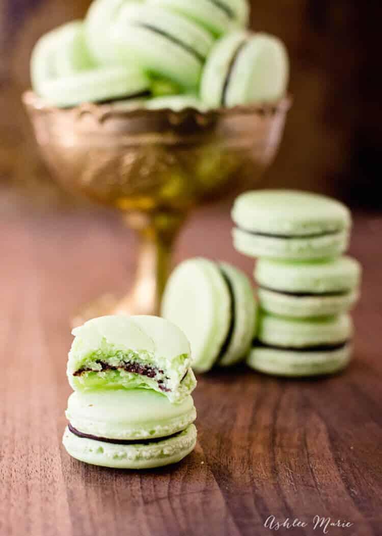 Chocolate Mint Macarons  Ashlee Marie