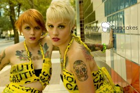 Model: Kim & Meg | Photo & Caution tape shirts: Ashleigh Purvey | Location: Ft. Lauderdale, Florida