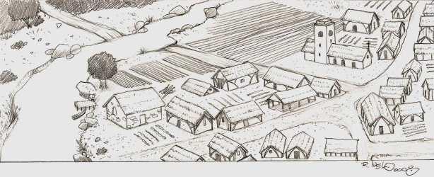 Sketch Medieval Village Drawing