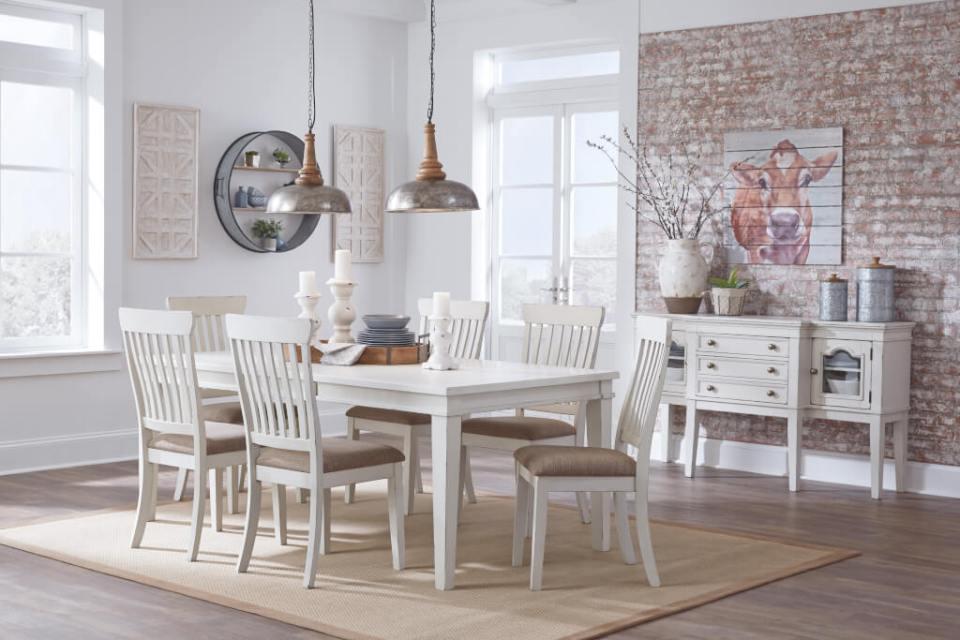 白い伸張式ダイニングテーブル