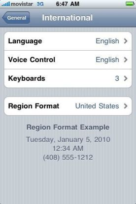 Iphone Region settings tip