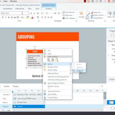Grouping and Ungrouping Objects in Articulate Storyline 360
