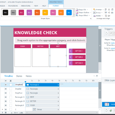 Real-Time Build of Drag and Drop Interaction in Articulate Storyline 360