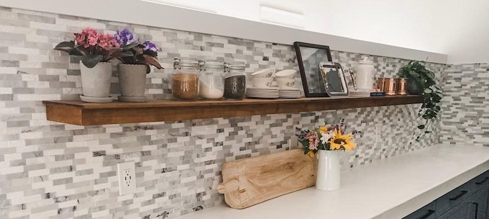 Kitchen Floating Shelf Reveal