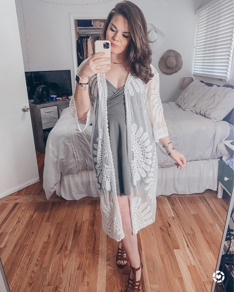 lace kimono styled with a dress