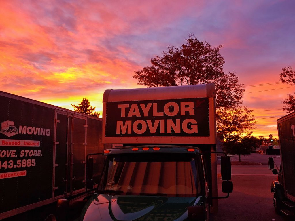 Taylor Moving and Storage at sunset