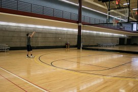 Sophomore at Central Michigan University, Ty Showman, spends his free time playing basketball in the Student Activity Center.
