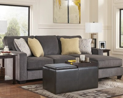 gray sofa with chaise lounge memory foam cushion inserts sectional sofas ashley furniture homestore large hodan rollover
